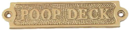 """Handcrafted Nautical Decor Solid Brass Poop Deck Sign, 6"""", Brass Handcrafted Nautical Decor http://www.amazon.com/dp/B00GA1WMJA/ref=cm_sw_r_pi_dp_1.Giub03GEVWB"""
