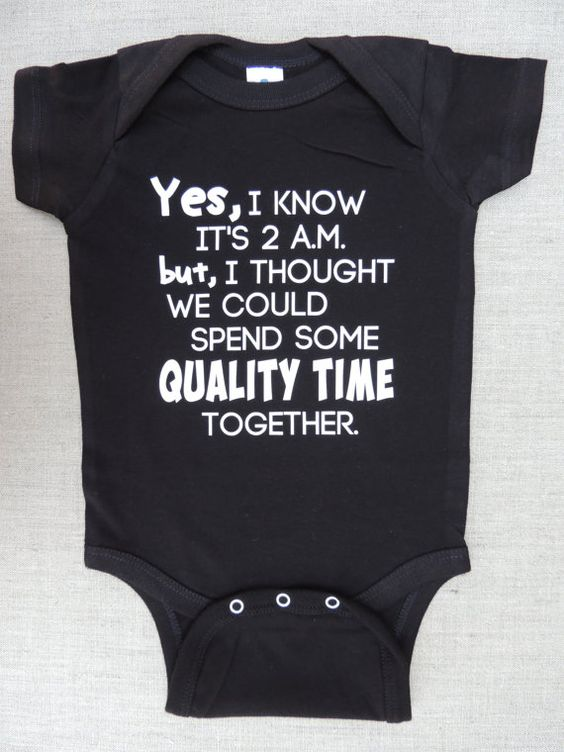 "Onesie ""Yes, I Know It's 2 a.m."" for Boys or Girls - Black Bodysuit - Sizes 6 Months to 18 Months"