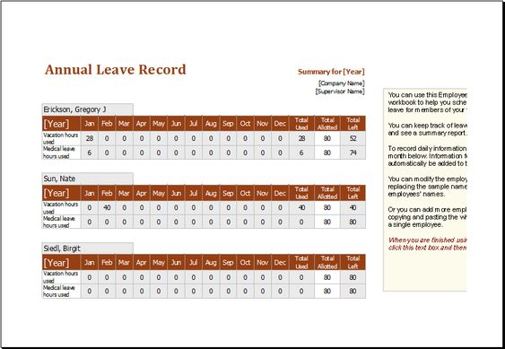Employee annual leave record spreadsheet DOWNLOAD at http\/\/www - download attendance sheet