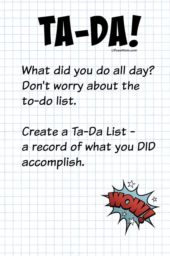 Make a Ta-Da List | Life as Mom