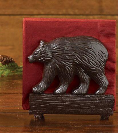Black Bear Cast Iron Napkin Holder