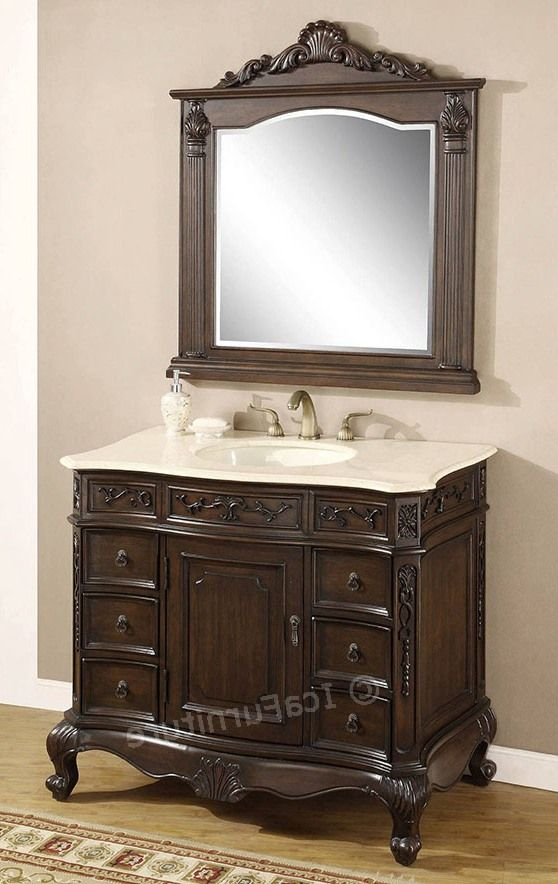 Contrasting Brown Vanity Bass And Cream Marble Cabinet Top  40 Extraordinary 40 Inch Bathroom Vanity Inspiration
