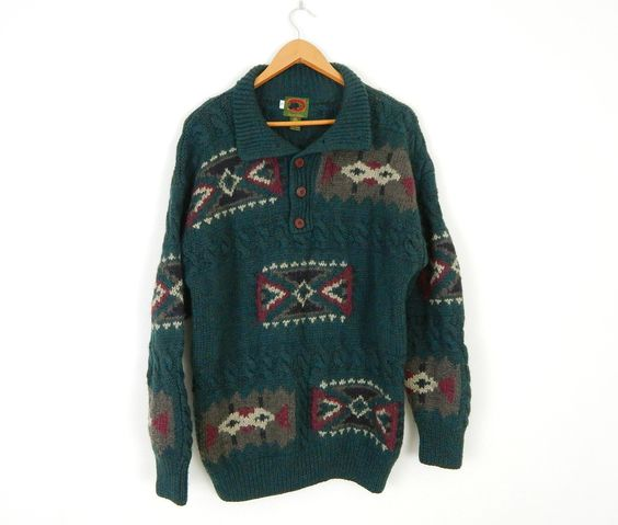 Vintage 90s Men's Southwestern Green Wool Sweater - Size Large - Cozy Oversized Cable Knit Pullover Jumper