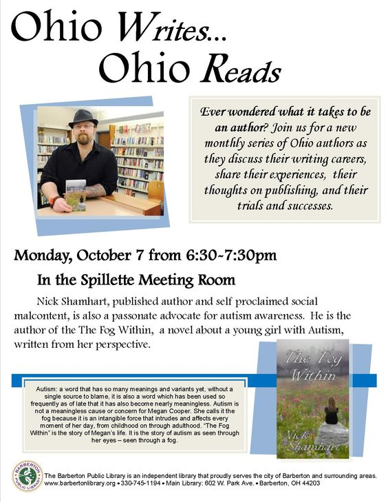 Nick Shamhart, author, self-proclaimed social malcontent, and autism awareness activist, will be speaking at BPL on October 7