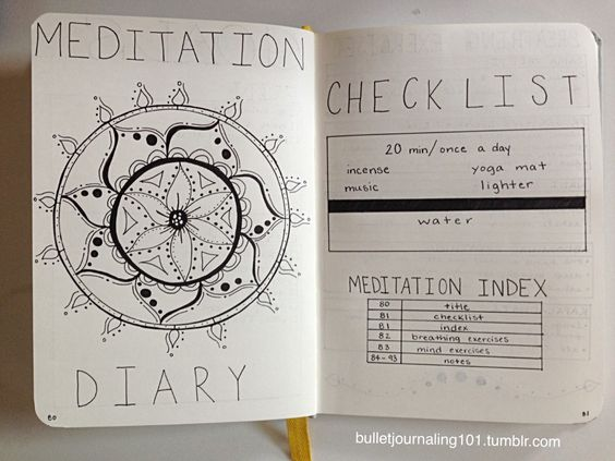 A meditation log to make meditating daily your most healthy habit - 9 self-care bujo pages to add to your journal now - Ourmindfullife.com