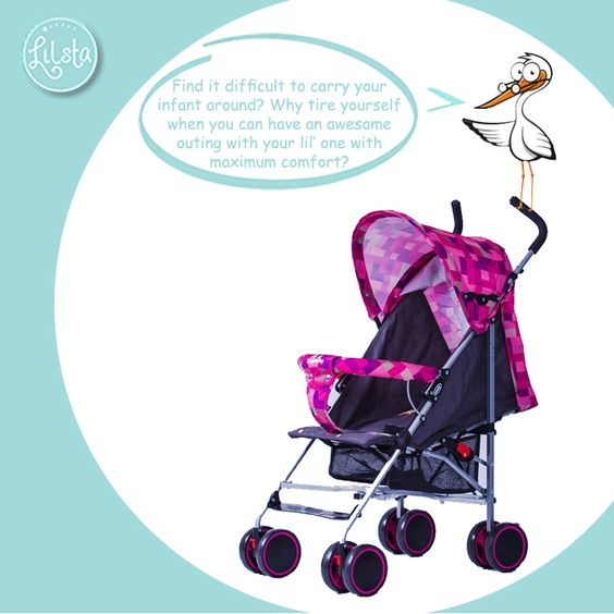 Find it difficult to carry your infant around? Why tire yourself when you can have an awesome outing with your lil' one with maximum comfort? Check out Lilsta's Checked Strollers @ http://goo.gl/hHkbTX and move around with your child easily! #Lilsta #BabyStroller