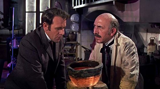Lionel Jeffries and Edward Judd in First Men in the Moon (1964)