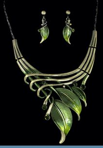 Green Leaf Necklace with Earrings Accented in Brasstones