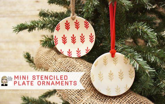 Mini Stenciled Plate Ornaments - livelaughrowe.com