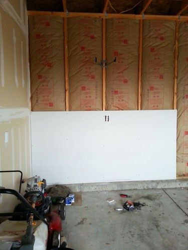 Finishing The Garage Part 1 Insulating And Drywalling Walls And Ceiling Painted Garage Walls Garage Doors