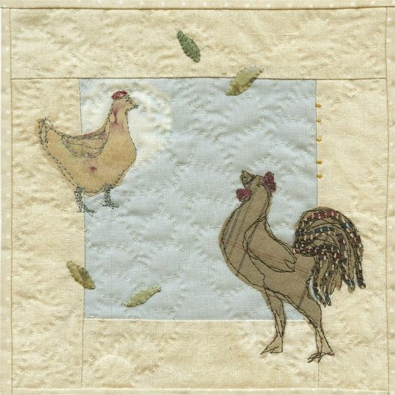 Rooster and Hen applique picture pattern by JanetClare on Etsy: