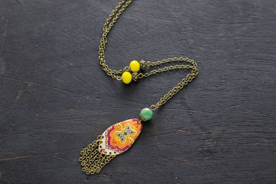 Colorful Fringe Necklace with Antique Brass by MusingTreeStudios
