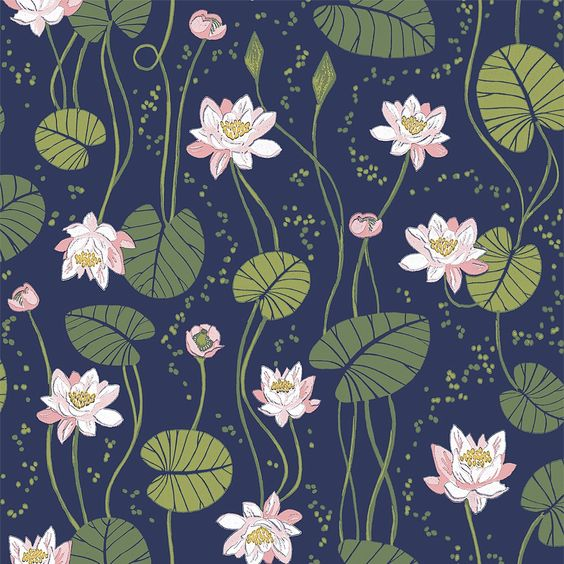 Tapete mit Blüten SANDRA dunkelblau von Sandberg