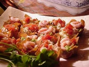Wonton Cups with Shrimp Salsa and Guacamole
