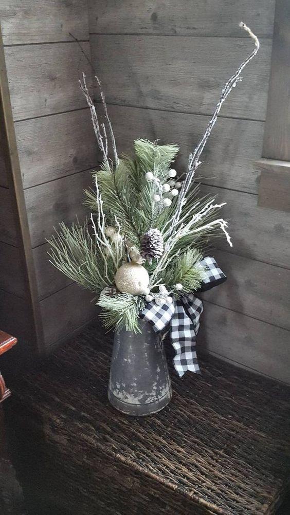 Christmas arrangement,farmhouse christmas arrangement,christmas farmhouse arrangement,table centerpiece, buffalo plaid christmas, xmas