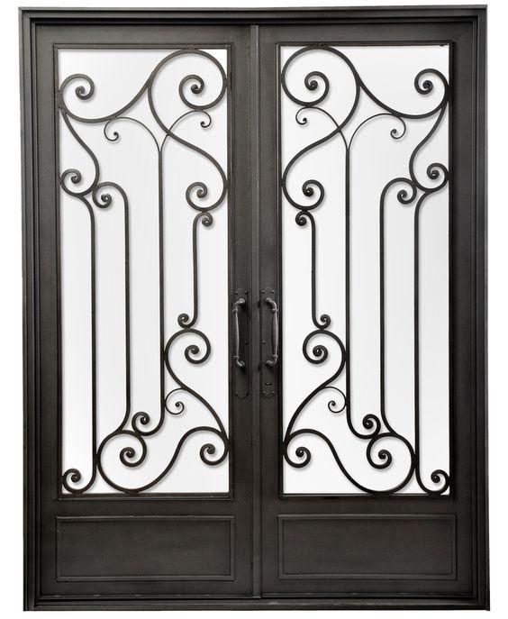 Puerta doble hoja de hierro forjado del hierro design - Puertas hierro forjado ...