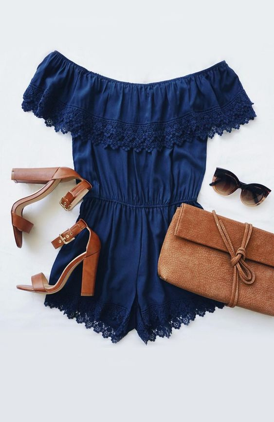 Coveted across the globe, the Others Follow Coventina Navy Blue Off-the-Shoulder Lace Romper is what our vacation-ready wardrobe is craving! #lovelulus: