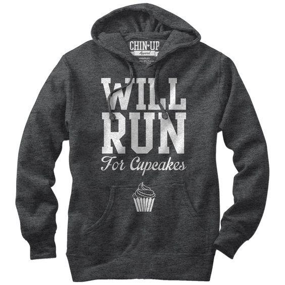 CHIN UP Women's - Will Run for Cupcakes Lightweight Hoodie
