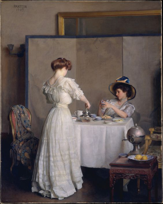 William McGregor Paxton (American, Baltimore, Maryland 1869–1941 Boston, Massachusetts ) Tea Leaves 1909 Oil on canvas, 91.6 x 71.9 cm (c) The Metropolitan Museum of Art: