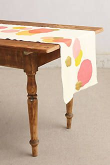 floral suede table runner