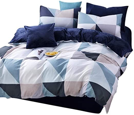 Hexiaoyi 4 Piece Flannel Duvet Cover Set Comfortable Bed Sheet Set With Bedding Pillow Case Cover For King Q Duvet Cover Sets Flannel Duvet Cover Flannel Duvet