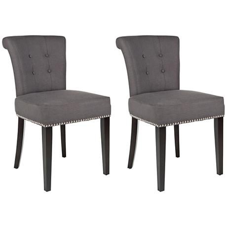 Pervical Set of 2 Tufted Back Upholstered Ring Chairs