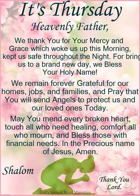 13442 Thursday Prayer~~J | Morning blessings, Good morning prayer, Thursday prayer