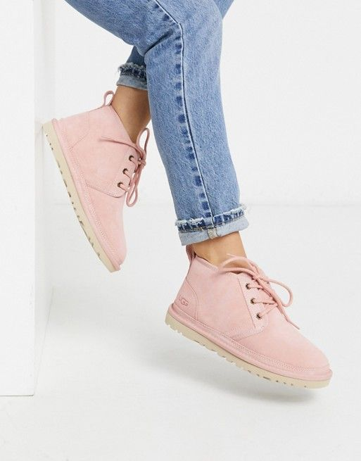 UGG Neumel lace up ankle boots in pink