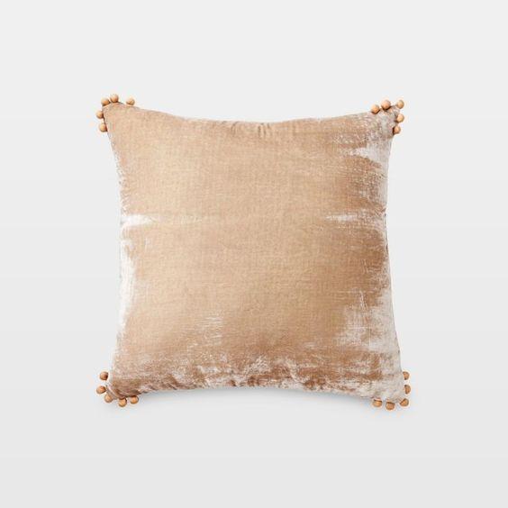 Silk Velvet Pom Pom Pillow Taupe