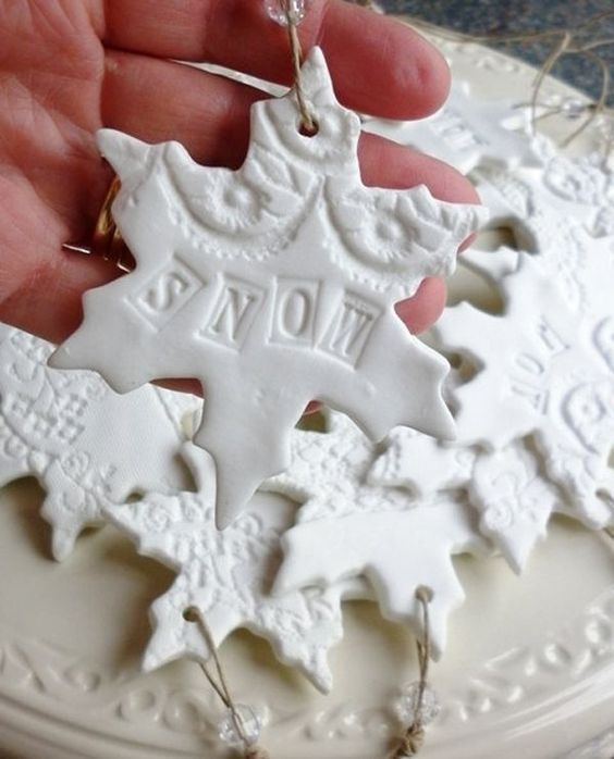 Christmas Plaster of Paris Crafts  Make Snowflake shaped clay