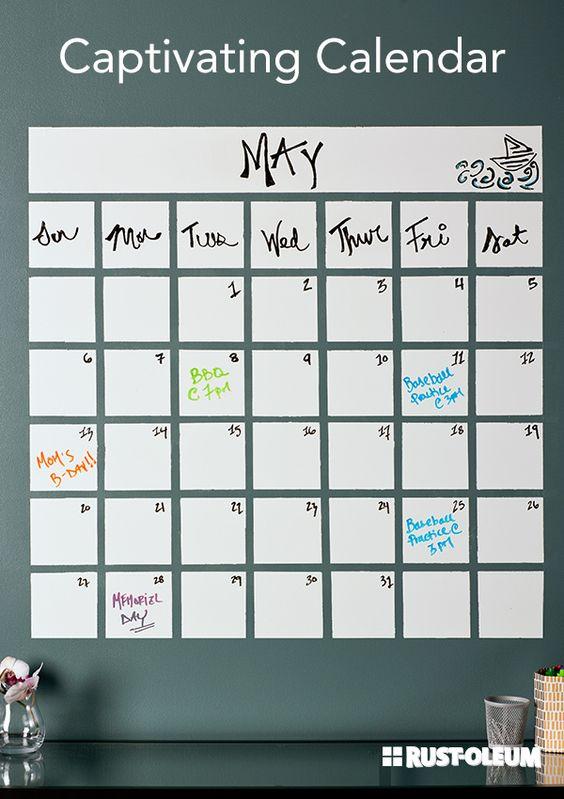 Calendar Girls Ideas : Create a decorative showpiece on your wall to keep track