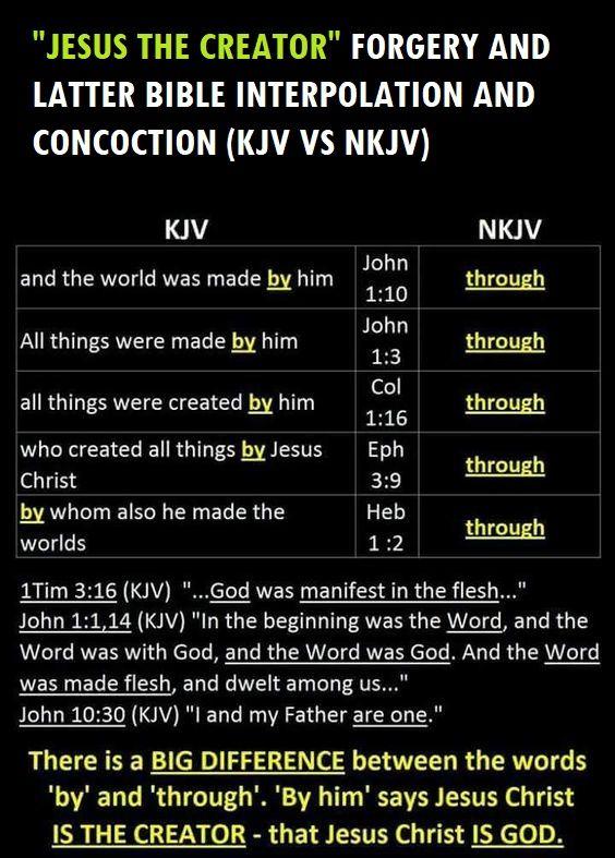 Jesus Creator Forgery Kjv Vs Nkjv In 2020