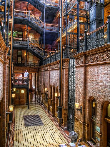 """The Bradbury Building, Los Angeles, CA, USA : Location for """"Blade Runner"""" and many other movies and tv shows."""