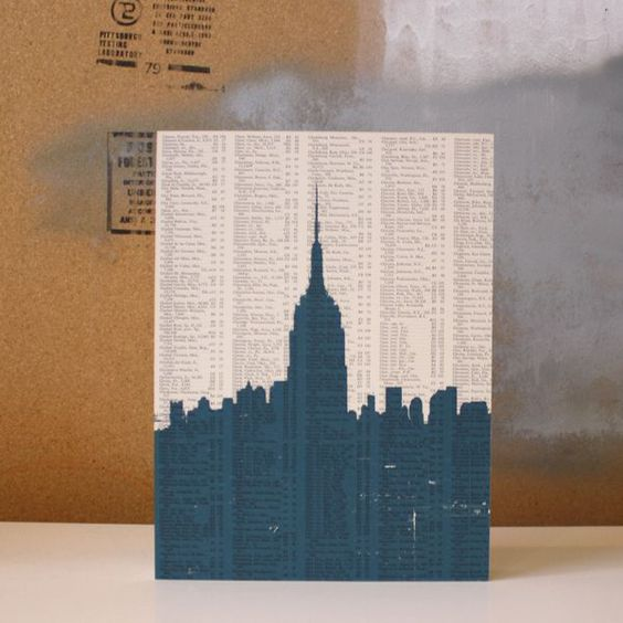 I could use the NY Times crossword pieced together for the background and then paint the skyline.