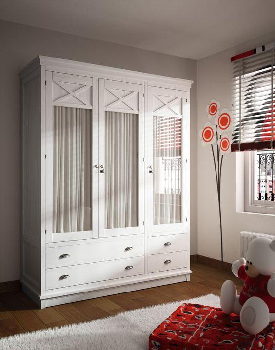 Armario verona 3 puertas visillo blanco tosca lacado - Armario dormitorio blanco ...