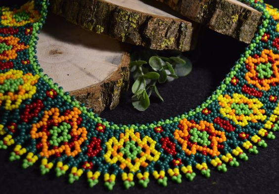 Collar necklace bead necklace jewelry by NakaHandMadeShop on Etsy