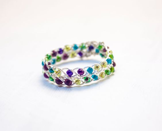 Peacock Braided Ring, Wire Wrapped Ring, Silver Ring Band