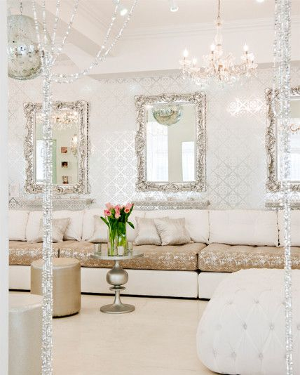 girly glam to the max even stylish for a hair salon boutique pinterest waiting area. Black Bedroom Furniture Sets. Home Design Ideas
