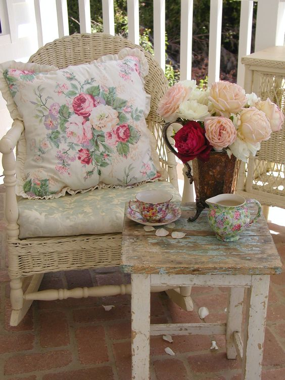 Another vignette with fresh roses ~ back porch...C.Repasy:
