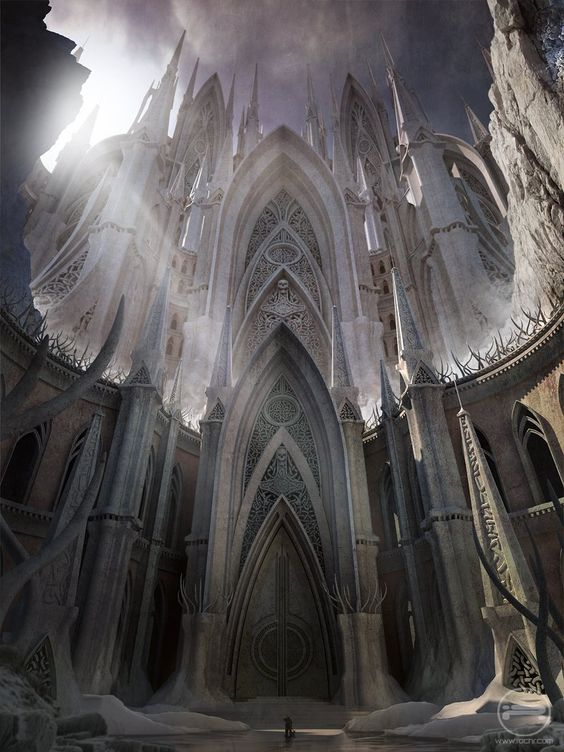 """:Valhalla"""" by Rudolf Herczog The detail in the architecture is amazing. I enjoy the almost fish eye perspective, and the massiveness of the structure is surreal.  The lighting peaking through creates a suitable asymmetry in the image."""