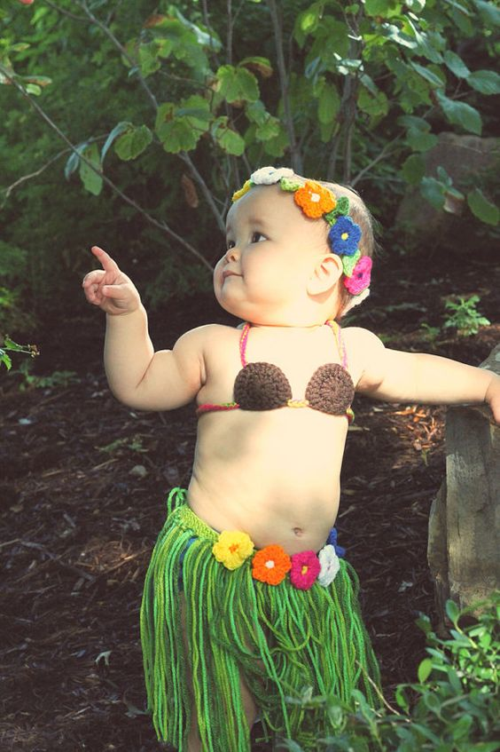 Crochet Luau outfit. Perfect for a lovely Hawaiian photo shoot or birthday party. | Handmade ...