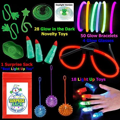 """""""All That Glows"""" 100 Pc Toy Assortment (Includes: Glow Bracelets, Glow in the Dark Martian Fingers, Glow in the Dark Sticky Novelties, LED Finger Lights, Light up Yo Yos, Glow Eye Glasses, Light up Necklaces, and More... Plus 1 Super Secret Surprise Sack) Super Secret Surprise Sack http://www.amazon.com/dp/B00V1GKATI/ref=cm_sw_r_pi_dp_kOGgvb1APYKXK"""