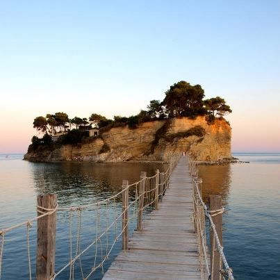 Agios Sostis, Zakynthos island,HELLAS    Agios Sostis (Saint Sostis) is a small island in Laganas bay. The small island was joined to the mainland until 1633 when an earthquake separated it. Nowadays, the island is joined to the mainland by a wooden bridge..