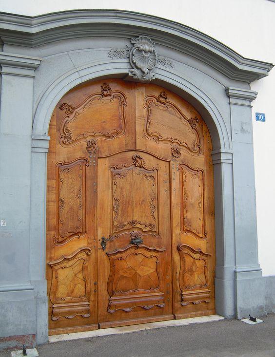 Carved Door Aeschenpl, Kanton Basel-Stadt, Swizerland