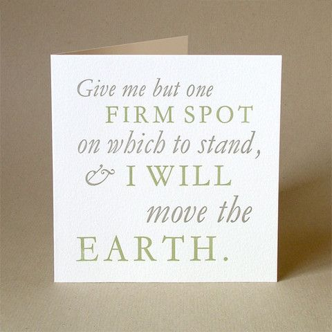 Archimedes 'I will move the Earth' quotation letterpress card.