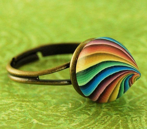 Small Polymer Clay 'Rainbow Kiss'
