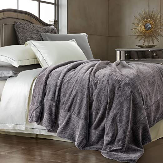 Double Sided Faux Fur Throw Blanket Silky Soft Oversized Afghan Machine Washable Grey Striped Mink Chinchilla Shad In 2020 Comforter Sets Beige Bed Linen Sham Bedding