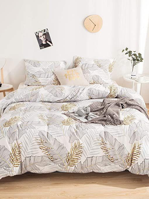 Milumia Bed Sheet Set 2pcs Duvet Cover Queen Size 100 Washed Microfiber Bedding Duvet Cover Set Leaf Patterned Sheet Set Duvet Cover Pattern Bed Duvet Covers