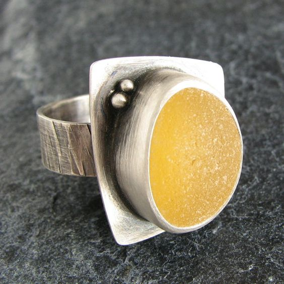 Yellow Sea Glass Ring Size 7 1/4 Beach Glass by MonicaBranstrom, $195.00