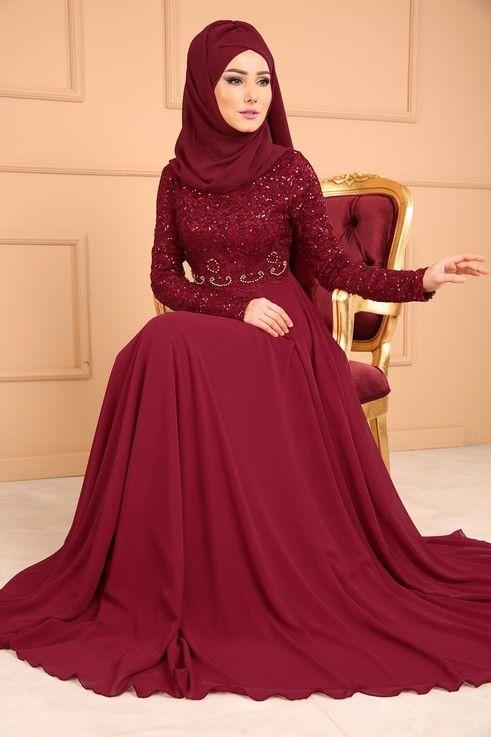 Modaselvim Abiye Pul Payetli Sifon Abiye Pn2007 Bordo Elbise Elbiseler